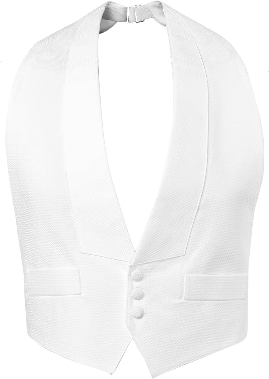 NEW Men/'s White cotton Pique Tuxedo Vest Self Tie Bow S-XL Adjustable FREE SHIP