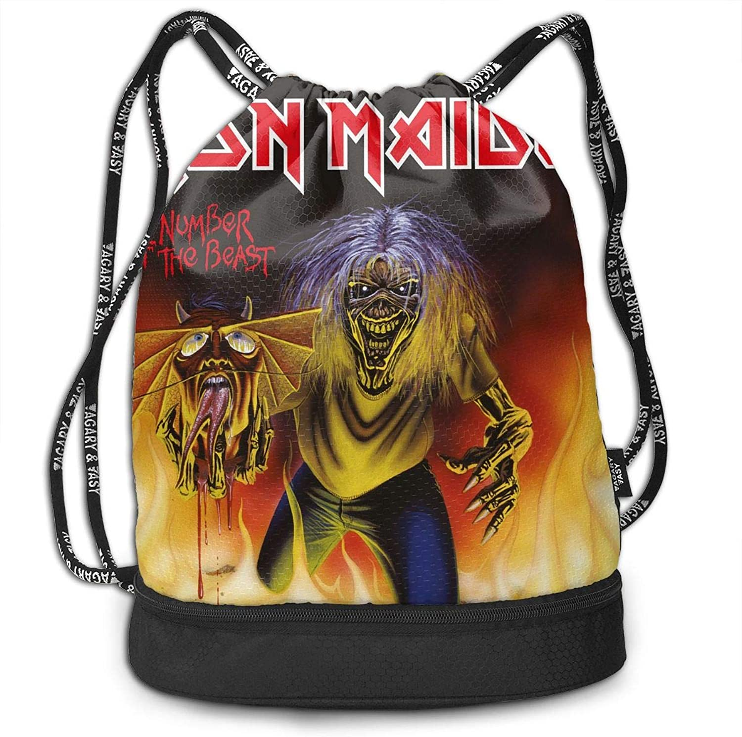 Gymsack Iron Maiden The Number of The Beast Print Drawstring Bags  Simple Hiking Sack