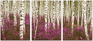 Sea Charm- Spring Landscape Canvas Wall Art Birch Trees Forest Picture Photo Painting Canvas Print for Living Room Decor,3 Panels Wall Art Ready to Hang