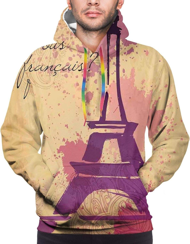 Men's Hoodies Sweatshirts,French Cursive Wordprint Eiffel Doodle Silhouette Pastel Splash Retro Print