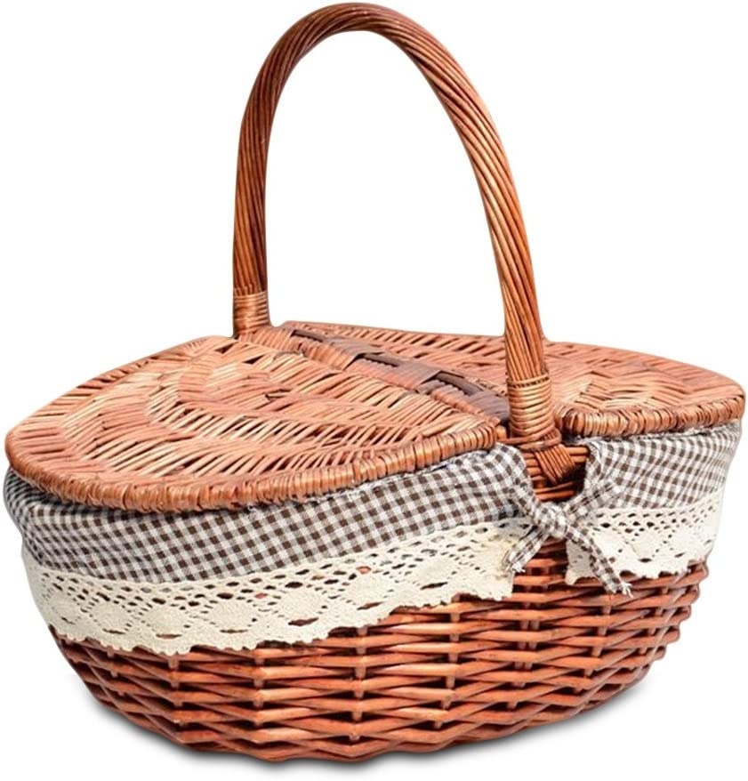 TSY Hand Made Wicker Basket Wicker Camping Picnic Basket Shopping Storage Hamper with Lid and Handle Wooden Color Wicker Picnic Basket (L, 02#)