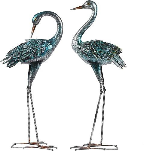 Kicust Garden Crane Statue for Outdoor, Blue Heron Decoy Garden Sculptures and Statues, Metal Bird Yard Art for Lawn ...