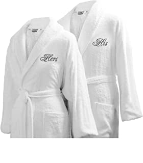 Luxor Linens - Terry Cloth Bathrobes - 100% Egyptian Cotton - Luxurious, Soft, Plush Durable Set of Robes (His and Hers with Gift Packaging, 2 Robes)
