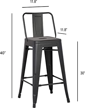 """AC Pacific Modern Light Weight Industrial Metal Bucket Back Barstool, 30"""" Seat Height Counter Stool (Set of 2), Matte Bla"""