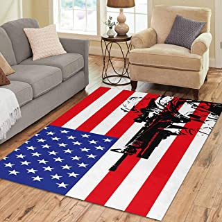 INTERESTPRINT Sweet Home Stores Collection Custom USA Flag1 Area Rug 7'x5' Indoor Soft Carpet
