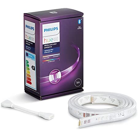 Philips Hue Lightstrip Tira Inteligente LED 1m, con Bluetooth, Luz Blanca y Color, Compatible con Alexa y Google Home (extensión)