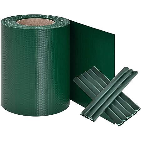 Anthrazit EveMotion GmbH Plantiflex Sichtschutz Rolle 35m Blickdicht PVC Zaunfolie Windschutz für Doppelstabmatten Zaun