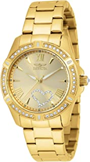 Women's Angel 34.5mm Gold Tone Stainless Steel, Crystal Accented Quartz Watch, Gold (Model: 21384)