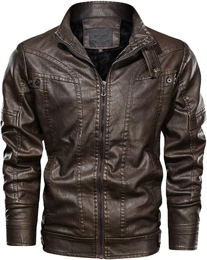 Distressed Leather Jacket Regular discount Men NRUTUP PU Faux SEAL limited product Lamb Skin