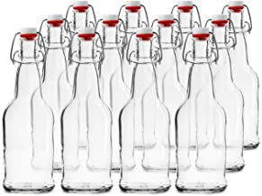 Chef's Star 16 Oz Empty Beer Bottles, Swing Top Glass Bottles, Flip Top Glass Bottle with Caps, Fermentation Home Brewing Kombucha Beer and Coquito, Fermenting Bottle with Stoppers, Clear, Set of 12