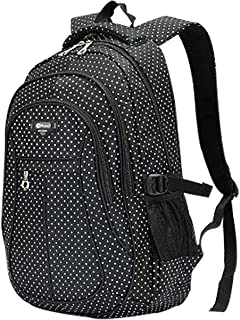 Teens Girl Women Multipurpose Travel Backpack Laptop School Bag Casual Daypack For College Students(27L,Dot Black)