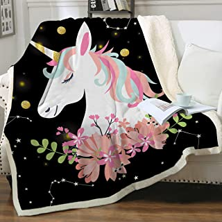 Sleepwish Unicorn and Sparkling Stars Print Super Soft Throw Blanket for Bed Couch Sofa Sherpa Fleece Lined Blanket Black Pink Floral Lightweight Travelling Camping Blanket for Girls Throw(50