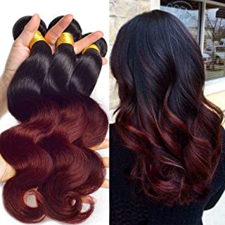 Black Rose Brazilian Vigin Ombre Hair 4 Bundles Body Wave Black to Burgundy 2 tone Hair Weaves 7A Grade Unprocessed 100% Human Hair Full Bundles 1b/99j Hair Weaving (Pack of 4, 12