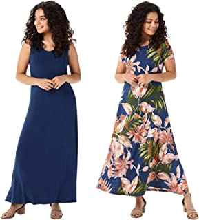 Attitudes by Renee Womens Jersey Set of 2 Maxi Dresses M Ink/Dahlia A377401
