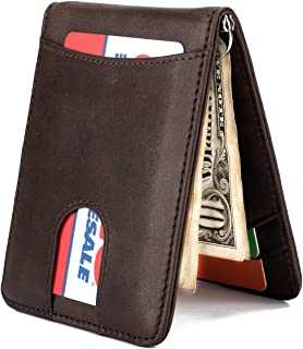 Slim Leather Front Pocket Wallet Money Clip with Pull Tab Slot and RFID Blocking