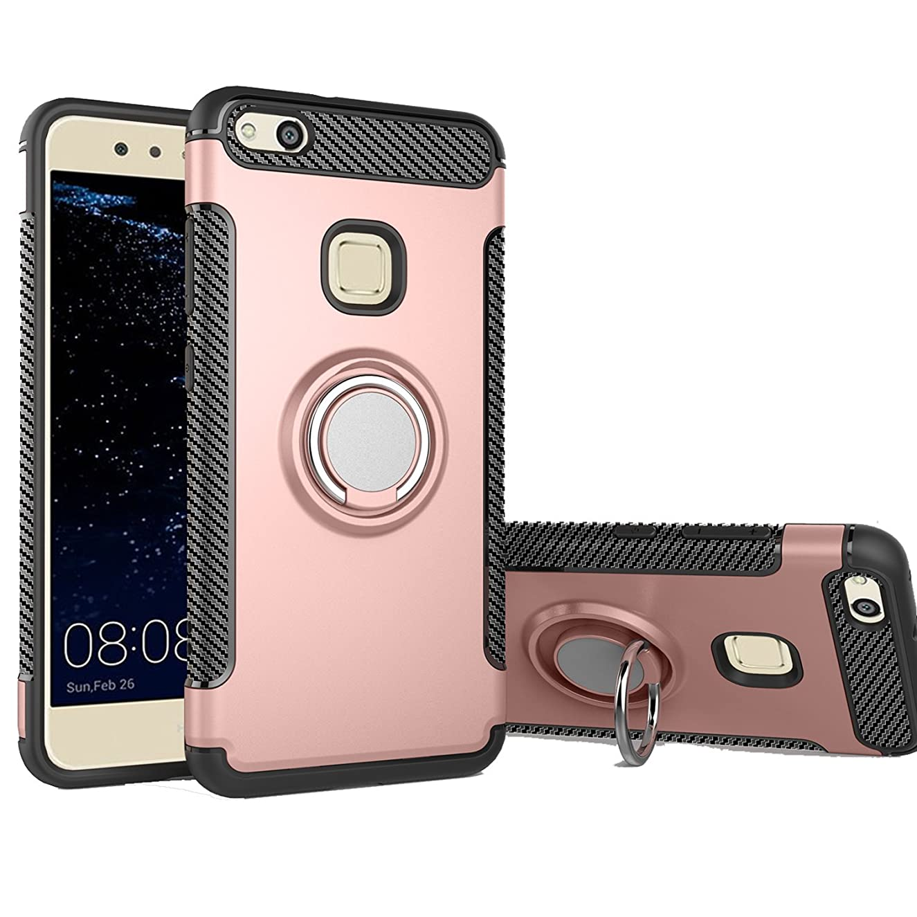 Huawei P10 Lite Case, Ranyi [2 Piece Ring Cover] [Adsorbed iron Plate] [360 Rotating Metal Ring] Hybrid Dual Layer 360 Full Body Protective 2 In 1 Case for Huawei P10 Lite 5.2 inch (2017), rose gold