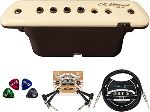 L.R. Baggs M1 Active Acoustic Guitar Magnetic Soundhole Pickup Bundle with Blucoil 2-Pack of Pedal Patch Cables, 10-FT Straight Instrument Cable (1/4in), and 4-Pack of Celluloid Guitar Picks