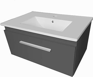 paplinskimoebel Lavabo avec meuble sous vasque Granada - Tiroir de 80 cm (graphite)