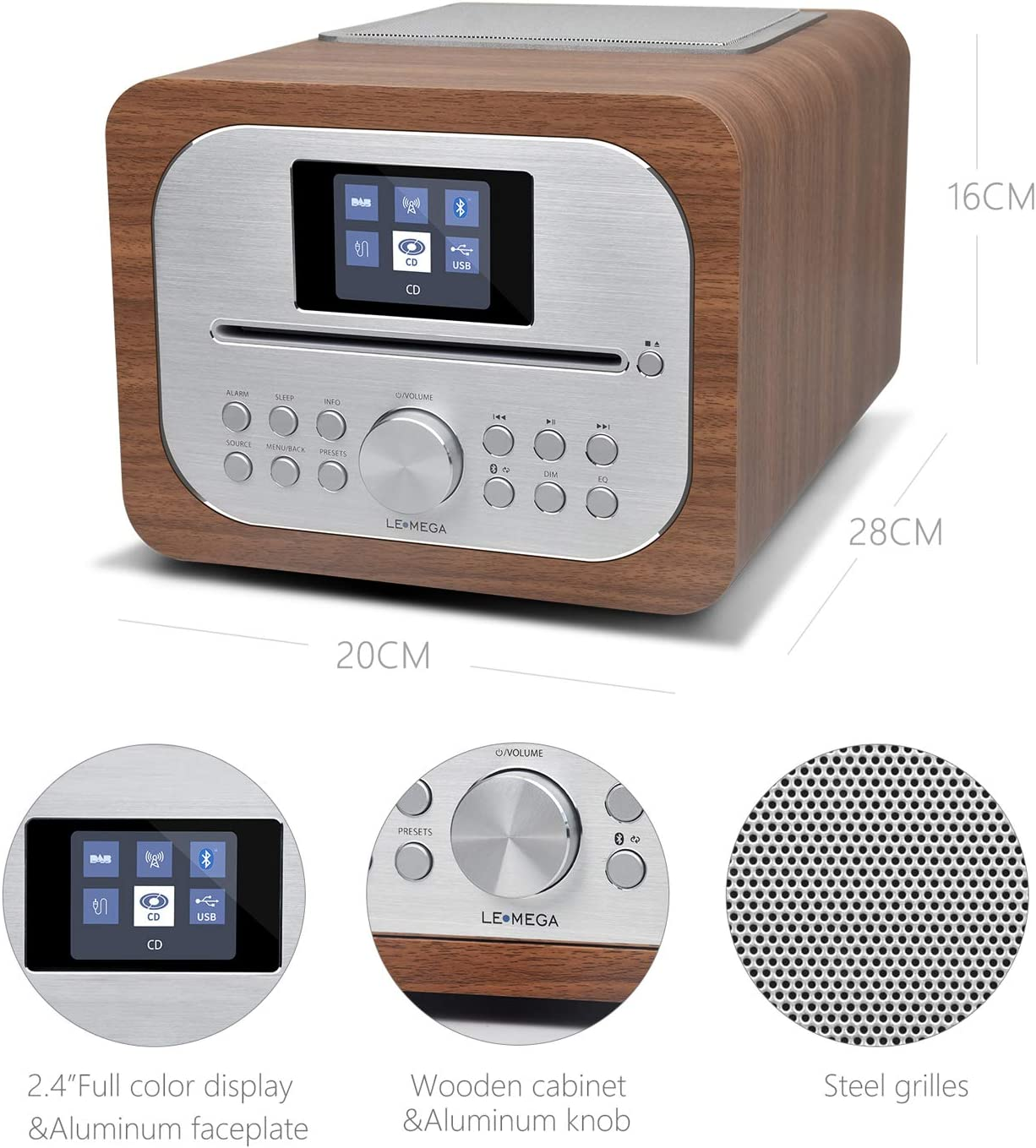 LEMEGA All-In-One Music System with CD player,DAB//DAB+//FM Radio USB Charging Colour Display MSY2, Black Oak USB MP3,Clock/&Alarms Wireless Bluetooth,Wooden box,Headphone-out Remote control