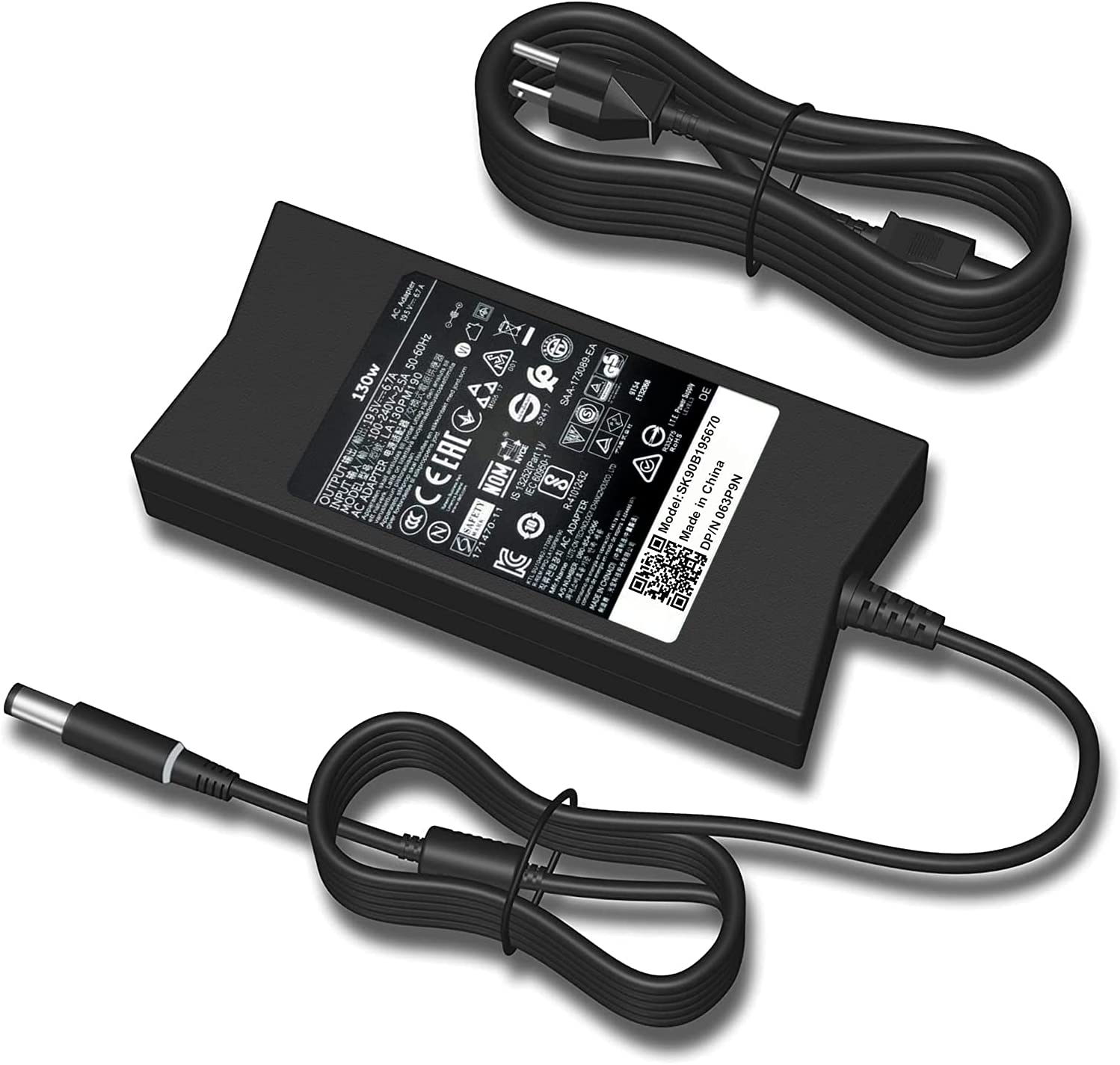PA-4E DA130PE1-00 JU012 CM161(Tip 7.4mm) Compatible with Dell Inspiron 7559 Charger,Dell 130W Laptop Charger,Dell 130w AC Adapter,Dell Docking Station Power Cord, Dell XPS 15(L502x) 17(L702x) Charger