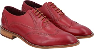London Brogues Wingtip Shoes for Men - Red 10 UK