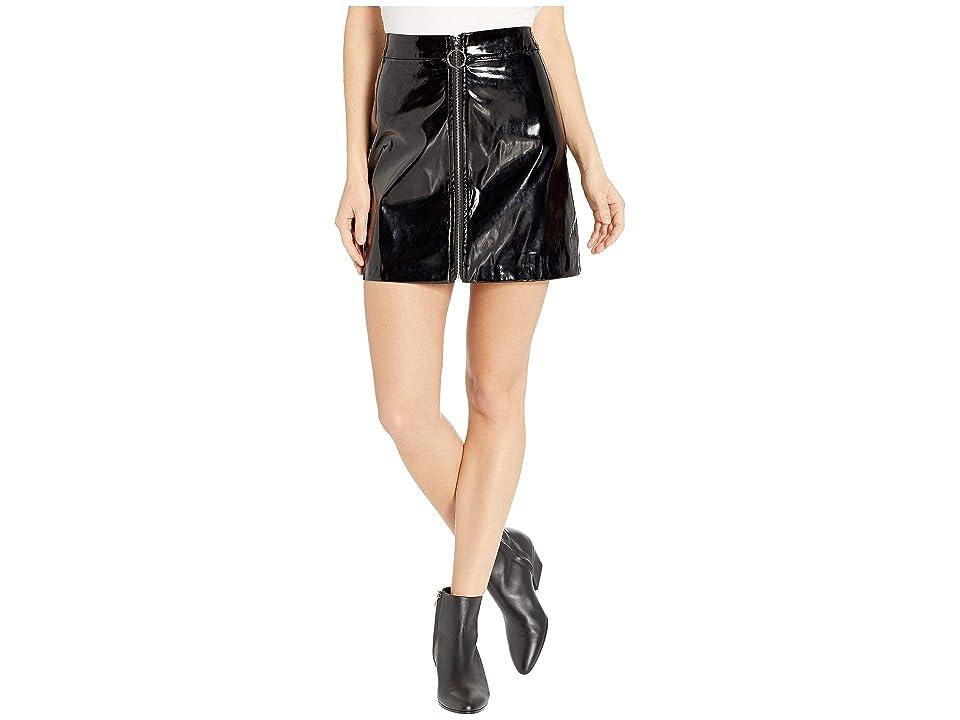 ROMEO & JULIET COUTURE Zip Front Shiny Mini Skirt (Black) Women