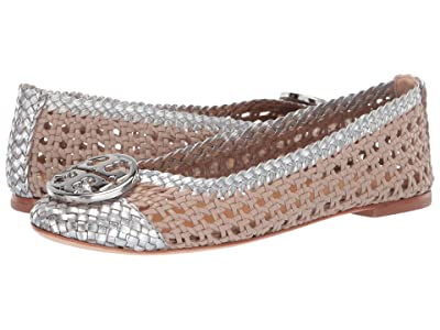 Tory Burch Chelsea Woven Cap-Toe Ballet (Light Taupe/Silver) Women