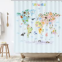 BASHOM BSC-615 Animal World Map Shower Curtain set for Kids Waterproof washable Decorative Bathroom 71''x71'' (180x180cm) ...