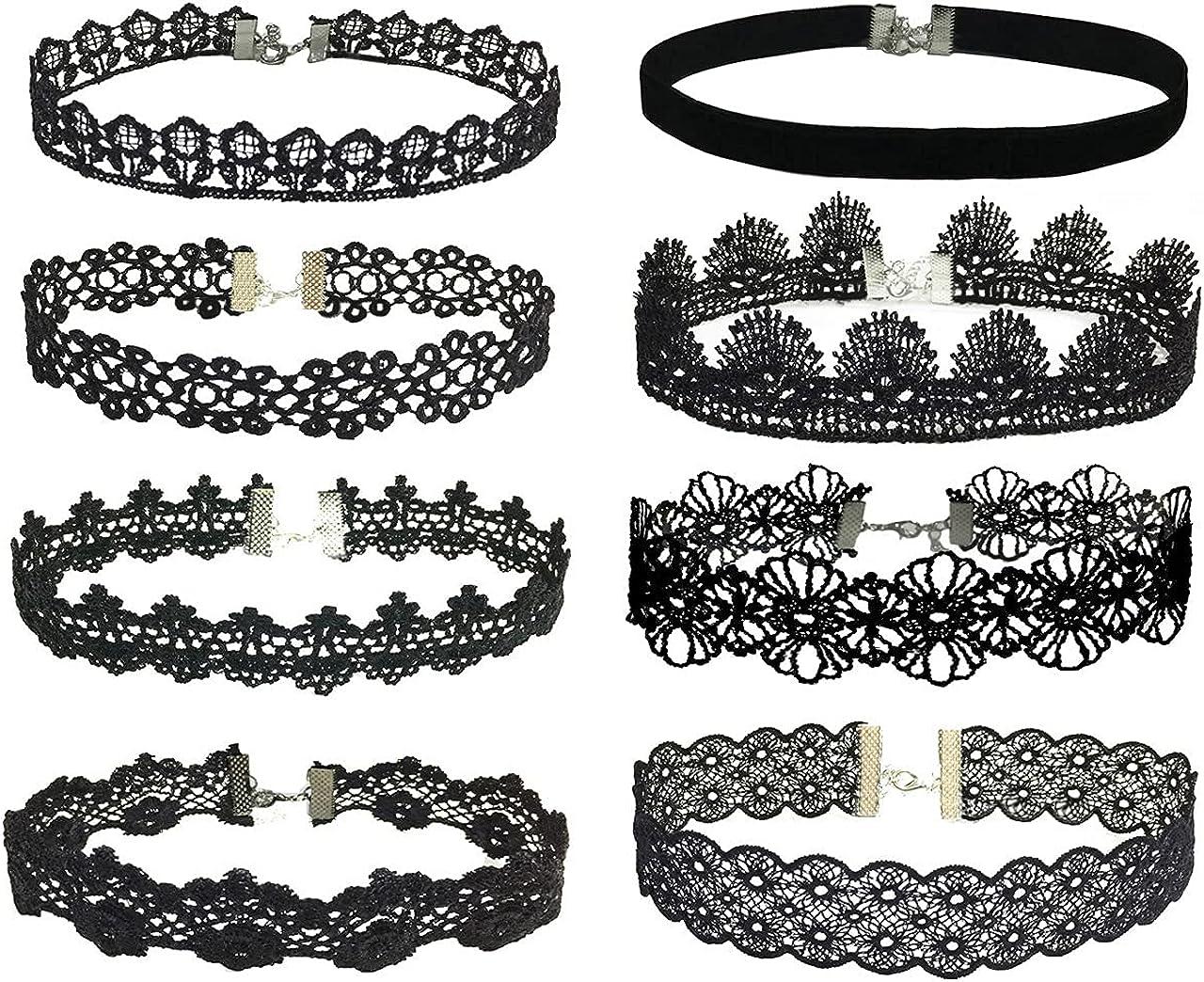 Manfnee Choker Necklace Set Gothic Tattoo Lolita Choker for Women Girls