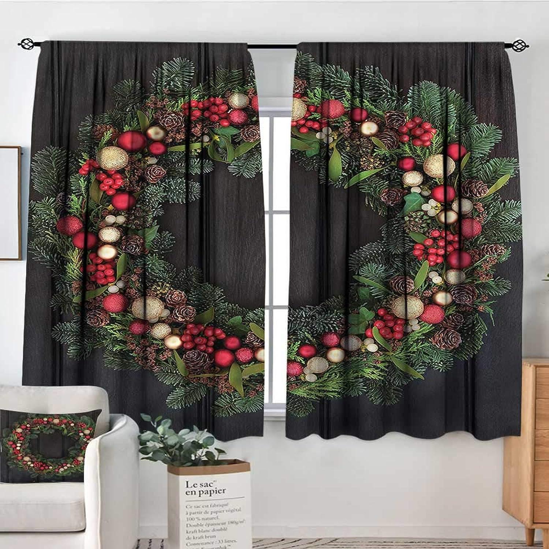 RenteriaDecor Christmas,Bedroom Drapes Fir Xmas Wreath 42 X72  Decor aterproof Indo Curtain