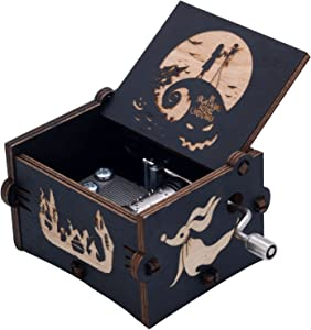 Kcikn Music Box Wooden Engraved The Nightmare Before Christmas Hand-cranked Musical Box, Playing Melody This is Halloween Music Box for Halloween Christmas Thanksgiving Black
