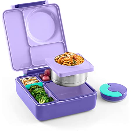 OmieBox Bento Box for Kids - Insulated Bento Lunch Box with Leak Proof Thermos Food Jar - 3 Compartments, Two Temperature Zones - (Purple Plum) (Single) (Packaging May Vary)