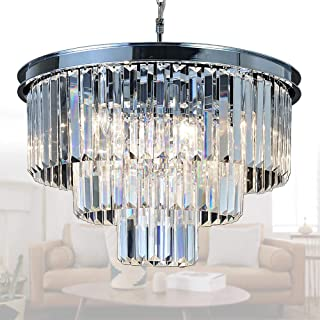 "MEELIGHTING Crystal Chrome Chandelier Modern Chandeliers Lighting 8 Lights Pendant Ceiling Light Fixture 3-Tier for Dining Room Living Room Kitchen Island W19.7"""