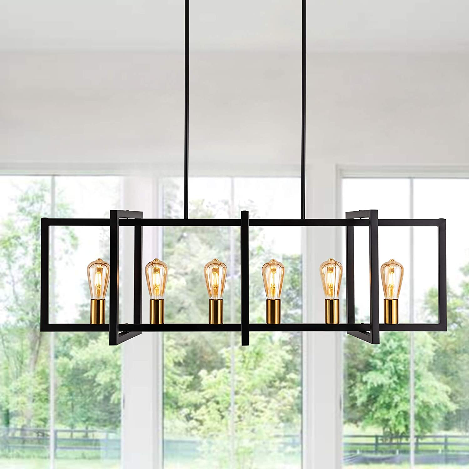 Industrial Island It is very popular Lights 6-Light Vintage Black Matte Cha Kitchen Challenge the lowest price of Japan ☆