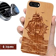 iProductsUS Compatible iPhone 8, 7,6, 6S Case Wood and Magnetic Mount, Pirate Boat Engraved in USA, Built-in Metal Plate, TPU Bumper Protective Shockproof Cover (4.7 inch)