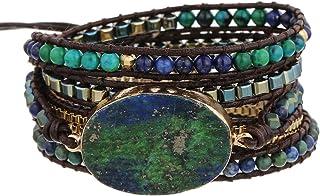 Plumiss Women Handmade Natural Stone Crystal Hematite Bead Mixed Wrap Bracelet Collection