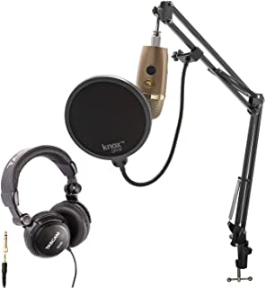 Blue Yeti Nano Premium USB Microphone (Cubano Gold) with Tascam TH-03 Closed Back Over-Ear Headphones, Knox Gear Boom Scissor Arm and Pop Filter