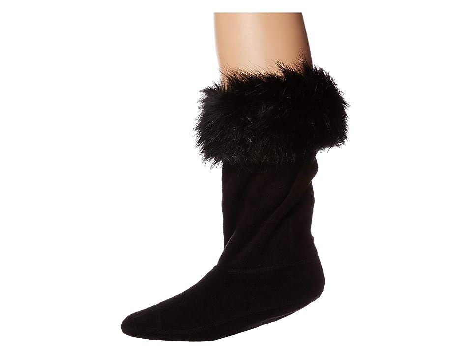 Hunter Kids Faux Fur Cuff Boot Sock (Toddler/Little Kid/Big Kid) (Black) Girls Shoes