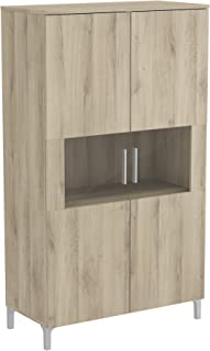 DEMEYERE | Armario de 2 Puertas Abatibles | Fabricado en Madera y Cristal | Con Estanterías | Mueble de Madera para Guarda...