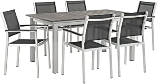 Modway EEI-3200-SLV-BLK-SET Shore 7 Piece Patio Aluminum Outdoor Dining Set, Silver Black