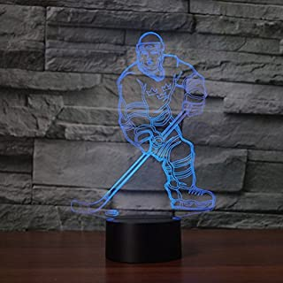 3D Abstract Ice Hockey Athlete Night Light 7 Color Change LED Table Desk Lamp Acrylic Flat ABS Base USB Charger Home Decoration Toy Brithday Kid Children Gift