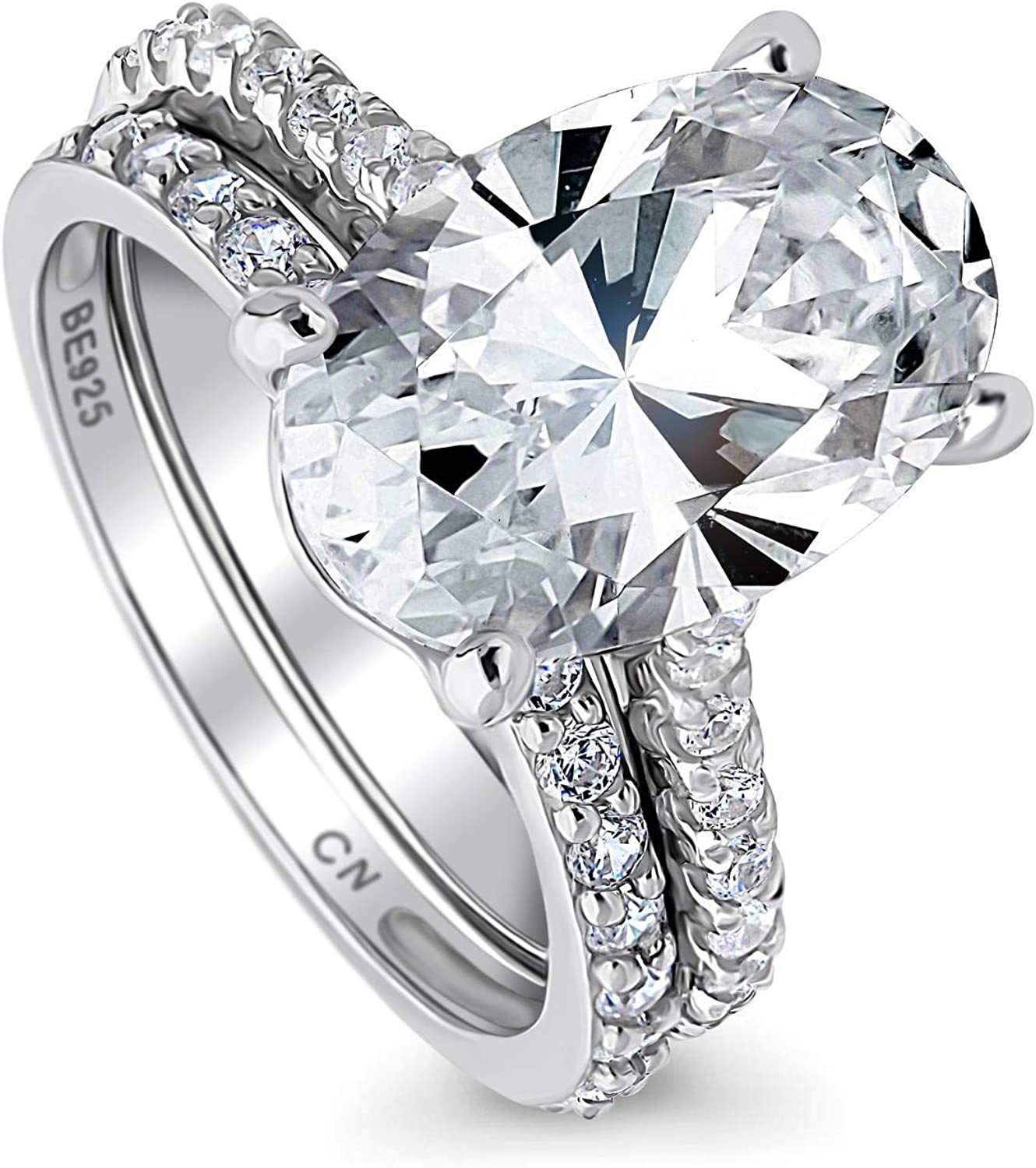 Be super welcome BERRICLE Rhodium Plated Sterling Silver Cut Cubic Oval Zirconia Sale price