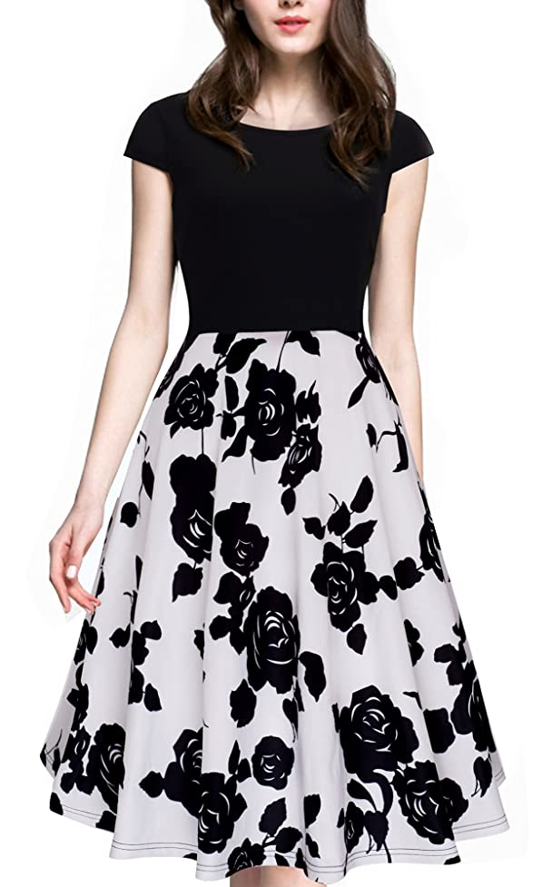 HOMEYEE Women's 1950s Vintage Elegant Cap Sleeve Swing Party Dress A009 mhg107242286035