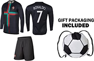 Cristiano Ronaldo Jersey Portugal Away Long/Short Sleeve Kids Soccer Gift Set Youth Sizes Backpack Gift