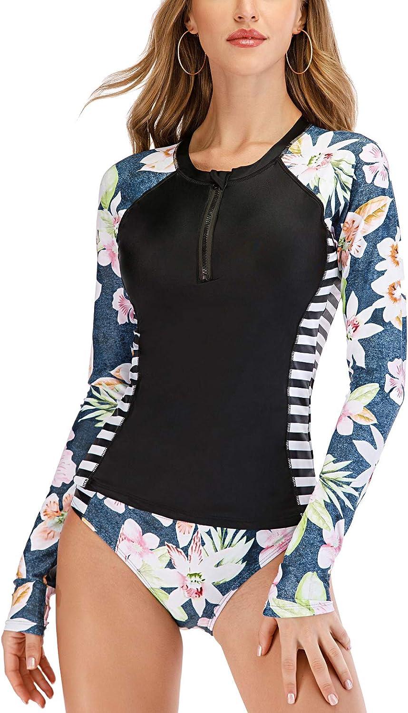 LafyKoly Women's Long Sleeve Rash Guard UV Protection Two Piece Swimsuit Tankini Sets Bathing Suit