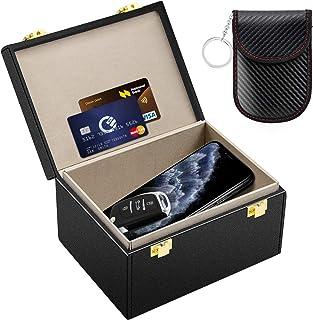 Kolaura Keyless Go Schutz Autoschlüssel Box mit Sicherer Ledertasche, RFID Signal Blocker Box, Strahlungsschutz, Diebstahlsicherungssperre für Telefonkarten, Anrufe und RFID