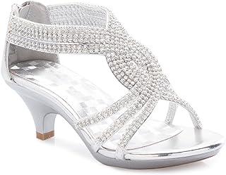 f354eb4818578 OLIVIA K Girls  Kids Open Toe Strappy Rhinestone Dress Sandal Low Heel  Shoes - Wedding