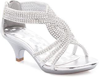 Olivia K Girls' Kids Open Toe Strappy Rhinestone Dress Sandal Low Heel Shoes - Wedding, Dress, Dance, Flower Girl