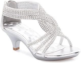 Girls' Kids Open Toe Strappy Rhinestone Dress Sandal Low Heel Shoes - Wedding, Dress, Dance, Flower Girl