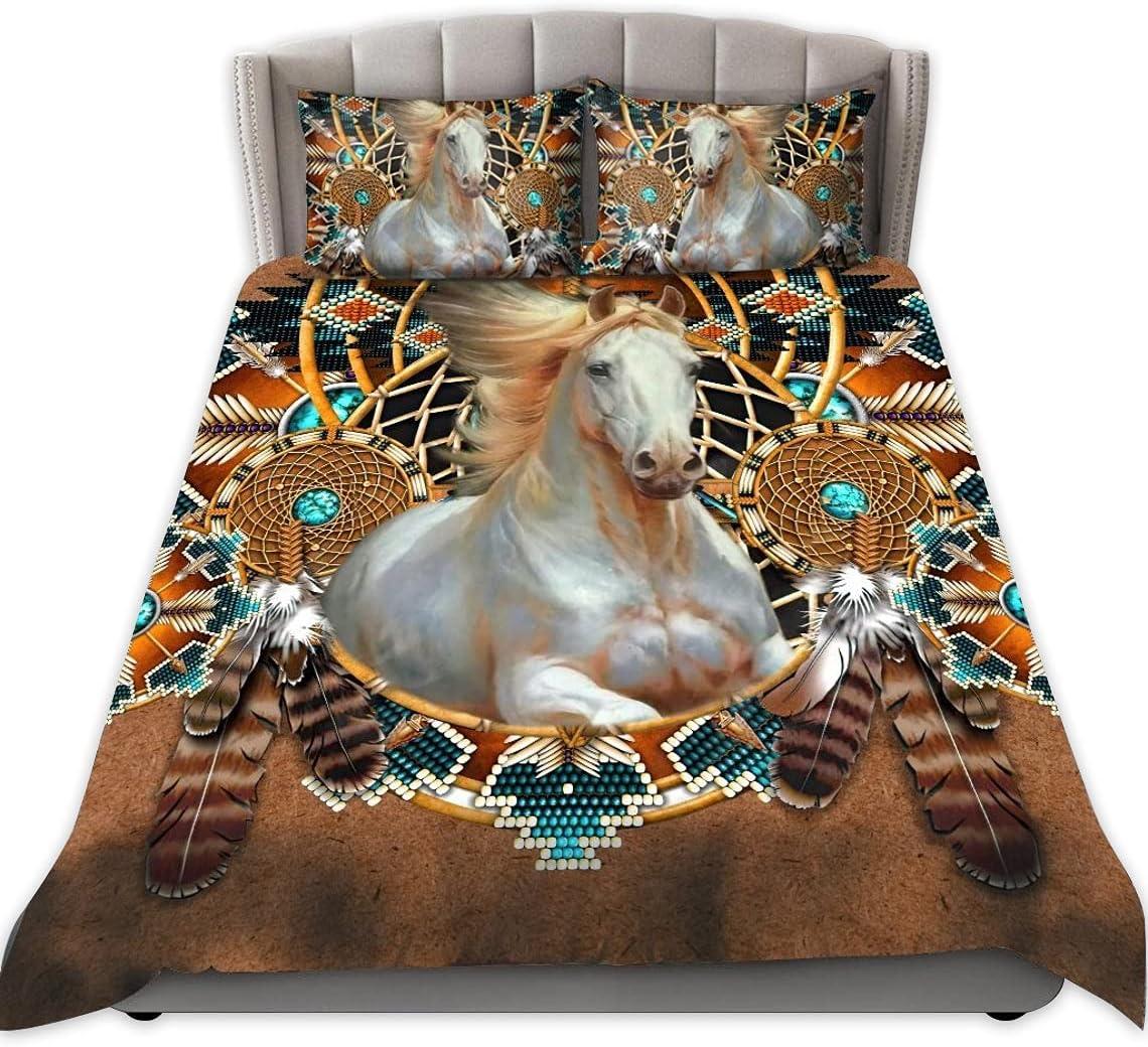zbigtee Native American Max 70% OFF Horse QBS Inexpensive Funny Set Bed Quilt Comfy